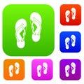 Flip flop sandals set color collection Royalty Free Stock Photo