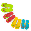 Flip flop sets realistic with different color combination Stock Image