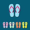 Flip flop vector set Royalty Free Stock Photo