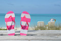 Flip-flops against ocean