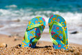Flip flops at the beach Royalty Free Stock Photos