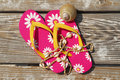 Flip flops on beach boardwalk Royalty Free Stock Photo
