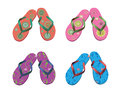 Flip flops. Beach sandals set. Stock Photo