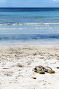 Flip flops on the beach a sandy ocean Royalty Free Stock Photography
