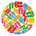 Flip flops circle Royalty Free Stock Photo