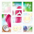 Flip flops coconut and sun glasses on the beach vector illustration Royalty Free Stock Photography