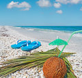 Flip flops and coconut under a blue sky Stock Image