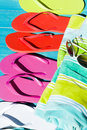Flip flops colorful by a swimming pool Stock Images