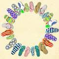 Flip flops the different color Royalty Free Stock Photos
