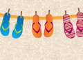 Flip flops hanging over vintage background illustration Royalty Free Stock Images