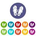 Flip flops icons set vector color