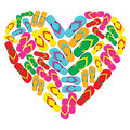 Flip flops in love heart shape Royalty Free Stock Images