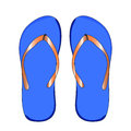 Flip-flops male blue color, for the beach, on a white background.