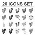 Flip-flops monochrome icons in set collection for design. Beach shoes vector symbol stock web illustration.