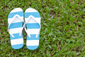 Flip flops a pair of on field grass a relaxed day Stock Images