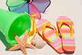 Flip flops on sand dune Royalty Free Stock Photo