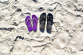Flip flops in the sand Royalty Free Stock Photo