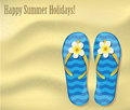 Flip flops on the sand vacations background with a texture of and decorated flower frangipani Royalty Free Stock Image