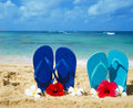 Flip flops on sandy beach with tropical flowers in hawaii kauai Royalty Free Stock Photo