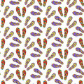 Flip-flops seamless pattern, cartoon style. Summer infinite background. Shoes repetitive texture. Vector illustration. Royalty Free Stock Photo
