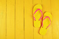 Flip Flops Yellow On A Yellow ...