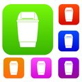 Flip lid bin set color collection Royalty Free Stock Photo