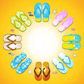 Flipflop border background colourful on golden yellow Royalty Free Stock Photo