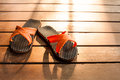 Flipflop on the deck in the evening light Royalty Free Stock Photo