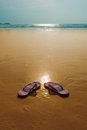 Flipflops on a sandy ocean beach Stock Photos