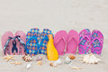 With FlipFlops and Sun milk on the beach Royalty Free Stock Photo