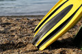 The flipper yellow and black colored over sands and sea Royalty Free Stock Photography