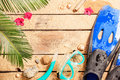 Flippers goggles and snorkel on tropical beach summer holiday vacation background layout with snorkeling theme free text space Stock Images