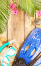 Flippers goggles and snorkel on tropical beach summer holiday vacation background layout with snorkeling theme free text space Royalty Free Stock Image
