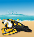 Flippers and swimming mask Royalty Free Stock Photo