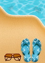 Flips flops on the beach illustration of Royalty Free Stock Image
