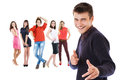 Flirting boy portrait with group girls Royalty Free Stock Photo