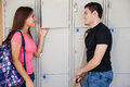 Flirting after school Royalty Free Stock Photo