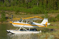 A float plane on a small lake in northern british columbia Royalty Free Stock Photo
