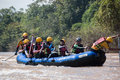 Float raft downstream on north thailand Royalty Free Stock Photo