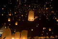 Floating asian lanterns in chiang mai thailand Stock Photos