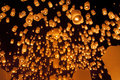 Floating asian lanterns in chiang mai thailand Royalty Free Stock Photos