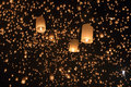 Floating asian lanterns ,Chiang Mai Thailand Royalty Free Stock Photo
