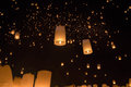 Floating asian lanterns in yee peng festival chiang mai thailan Stock Images