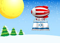 A floating balloon with the flag of israel illustration Stock Image