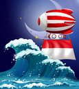 A floating balloon with the flag of monaco illustration Stock Photos