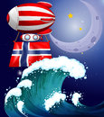 A floating balloon with the flag of norway illustration Royalty Free Stock Photo