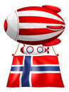 A floating balloon with the flag of norway illustration on white background Royalty Free Stock Images