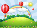 Floating balloons at the hilltop with a rainbow illustration of Royalty Free Stock Photo