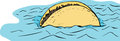Floating beef taco in water freehand cartoon sketch of single corn shell with ground topping Royalty Free Stock Photography