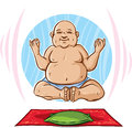 Floating buddha cartoon of a man meditating Royalty Free Stock Image
